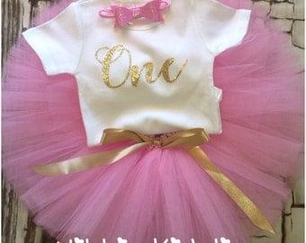 Pink and gold first birthday tutu set, first birthday outfit, pink and gold birthday set, pink and gold tutu