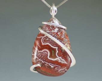 Crazy Lace Agate Teardrop Cold Forged Sterling Silver Pendant