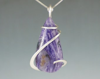 Charoite Teardrop Cold Forged Sterling Silver Pendant