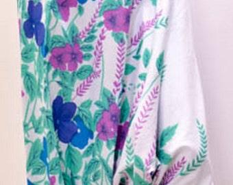 Hippie Floral Print yoga genie boho aladdin baggy harem pant blue 12 14 16