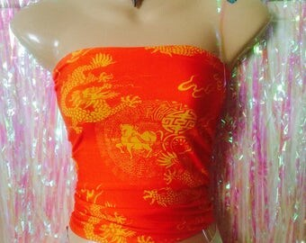 Sassy chinese oriental dragon crop top urban swag festival dope style