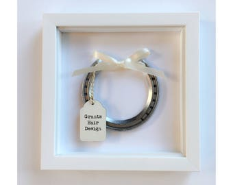 Lucky horseshoe, good luck gift custom made with personalised tag framed or giftboxed new job, leaving gift, baby shower or business venture