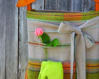 Green Plaid Linen Garden Apron with Pockets
