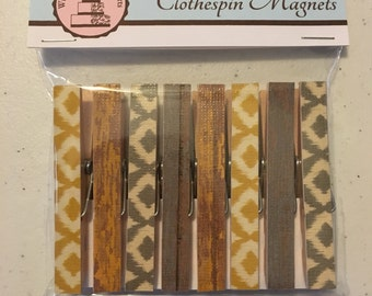 Clothespin Magnets - Rustic Yellow and Gray