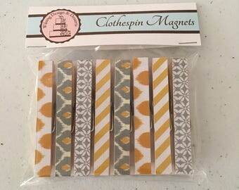 Clothespin Magnets - Modern Gold and Gray
