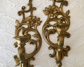 Pair of Ornate Candle Sconces Shabby Chic Mid Century Syroco French Provincial Gold