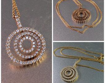 Sterling Bullseye Necklace, Cubic Zirconia Diamond CZ Pendant, Gold Vermeil