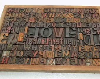 """50% Discount 154 Vintage Letterpress """"Love"""" Wood Type All Letter in Mix size & mix fonts for decoration, craft and many other use.#Te-102"""