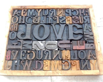 50% discount Collage 64 Vintage letterpress LOVE Wood Type All Letter in Mix size & mix fonts for decoration.be-313