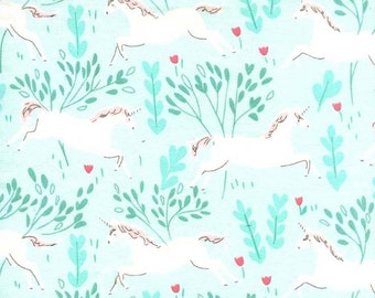 Aqua Unicorn Forest Magic Flannel by Sarah Jane Collection From Michael Miller on 100% Cotton, Flannel