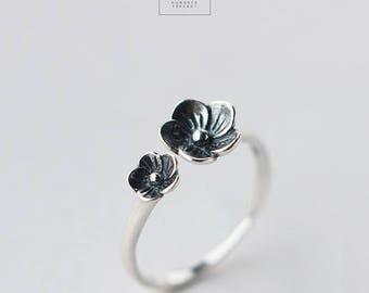 Free shipping: sterling silver rose, flower adjustable ring