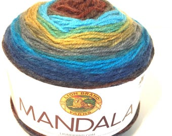 Lion Brand Mandala, yarn destash, color change yarn, multicolor yarn, new yarn cake, soft acrylic, #3 yarn, new yarn cake, variegated