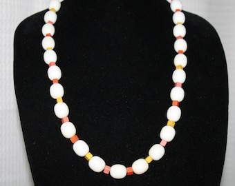A6 Vintage Wood and Lucite ? Beaded Necklace Brass Screw Barrel Clasp Orange Yellow Squares With White