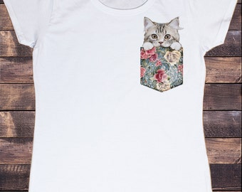 Womens White T-Shirt Cute Kitten Pocket- Ying Yang Roses Print TS603
