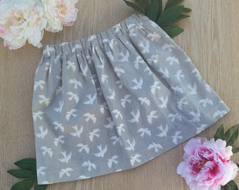 Grey bird cotton skirt size 3T
