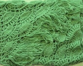 Length - top 260 cm, hand knit crochet shawl wrap - triangle shape, Russian shawl vintage style   f0.08