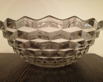 1920 1930 Art Deco Fostoria cube glass fruit bowl.