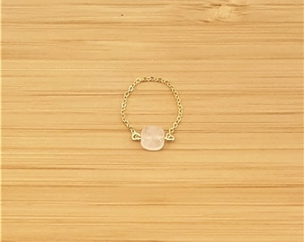 Ring chain Quartz plate gold