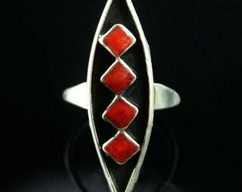 Vintage Zuni Inlay Ring ca 1970's