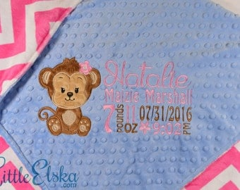 Minky Baby Blanket, Personalized Baby Blanket, Personalized Birth Stat Blanket, Monkey Appliqué Blanket, Choose your colors and size.