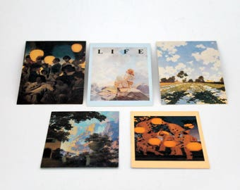 Maxfield Parrish, Portrait of America Collector Cards by Comic Images,  Sunrise, Lantern Bearers, Morning, and Others