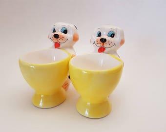 Vintage Dog Egg Cups, Kitschy Egg Cups