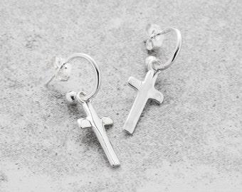 Silver Cross Earrings, Cross Hoop Earrings, Cross Earrings, Hoop Earrings, Cross Jewelry, Silver Hoops