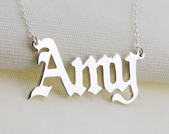 Old English Script Name Necklace, Silver Name Necklace,Personalized Name Pendant, Customized Name Necklace, Birthday Gift N033