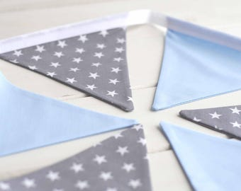 Blue and Grey Star Nursery Bunting