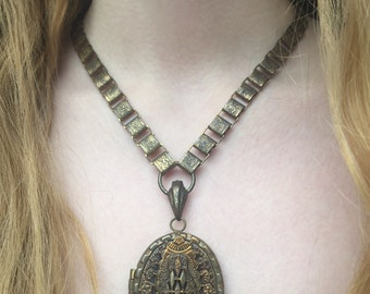 Victorian Revival Gothic-Look Brass Metal Picture Locket and Book Chain Collar; Statement Necklace; Steam Punk