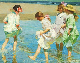 100% Hand Painted Edward Henry Potthast Girls on the beach oil painting reproduction for girl room decor or child gift