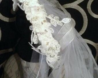 1920s veil, Great Gatsby veil, flapper veil, church length veil, white tulle veil, lace pearl veil, flower veil, 1920s bridal wear