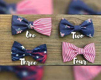Fourth of July/labor day/memorial day/red/white/blue/stripes/stars/flag/Headband/Hair Clips/girls/bow