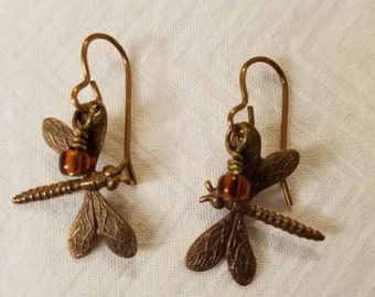 Dragonfly and Amber Dangle Lever-back Earrings Antique Gold Nicole and Lead Free