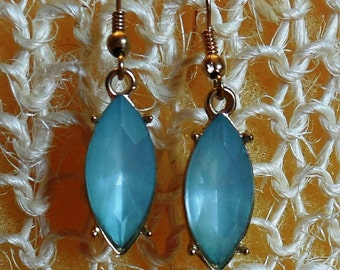 Aqua Blue Drop Earrings with French Ear Wires
