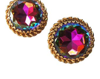 Large Vintage 1950 Schiaparelli Tourmaline Earrings - Watermelon Stones  Gold Clip On Earrings