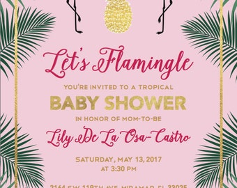 Flamingo Tropical Baby Shower Invitation (Digital)