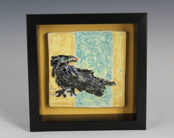 Framed Raven Ceramic Tile, Crow or Blackbird Art, Handmade by Arizona Aritist, Karlene Voepel
