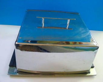 Beautiful Vintage Stainless Steel Cake Carrier, Retro, Vintage Cake Carrier, Aluminum, 1950s Style, Mid Century.