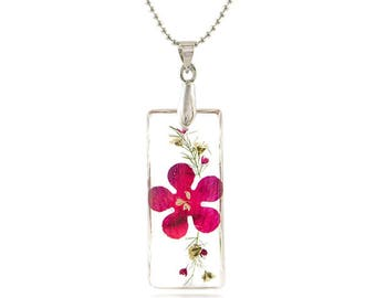 Thin Rectangle Shape Real Flower Pendant