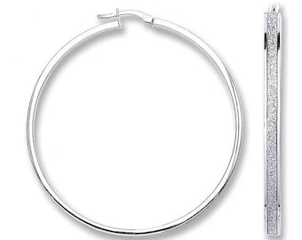 Silver Moondust Round 50mm Hoop Earrings