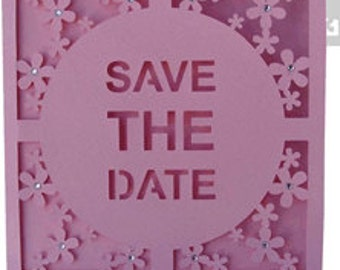 Save the Date Card with Rhinestones , Flowers , Papercut , Wedding , Bridal , custom