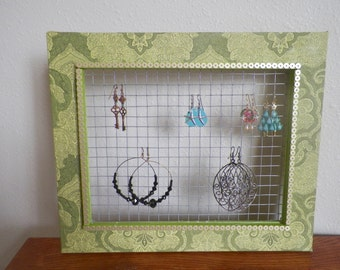 Embellished Picture Frame, Earring Organizer Frame, Green Fabric Frame, Home Decor, Upcycled Picture Frame, Gift for Woman, Mother's Day