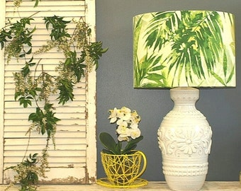 Australian Made Lamp Shade Fern Design, 43cm Dia x 30cm High, 2 Colours, 2 Fittings, Made to Order 1 - 2 Weeks