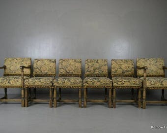 Set 6 17th Century Style Antique Oak Upholstered Dining Chairs