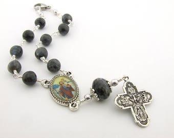 Car Rosary - Black Labradorite Gemstone Auto Rosary with Saint Christopher Centerpiece - Unbreakable Auto Rosary - Catholic Gift