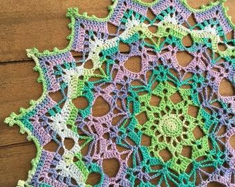"""Crochet doily, multicolor lace doilie, 10"""""""