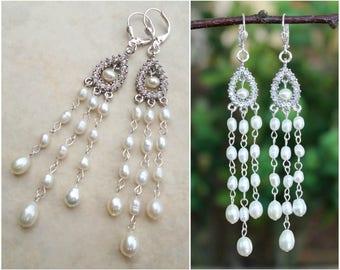 White Freshwater Pearl Dangle Earrings.Swarovski Crystal.Silver.Statement.Chandelier.Wedding.Bridal.Long Earrings.Bold.Big.Luxury.Handmade.