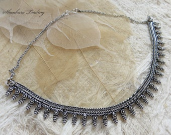 Indian Banjara Necklace, Alpaca Silver Tribal Necklace, Ethnic Necklace, Boho Necklace, Belly Dance Jewelry, Tribal Silver Necklace