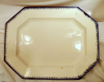 Antique Leeds Ironstone Serving Platter, Blue Feather Edge, Early 1800's